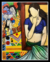 Kala Kriti by Mrinal Dutt, Expressionism Painting, Acrylic on Canvas, Shark color