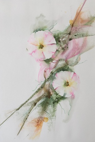 Bindweed by Nisha Sehjpal, Impressionism Painting, Watercolor on Paper, Silver color