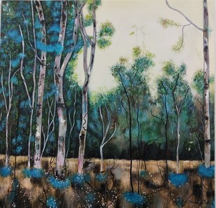 Into the woods by Shivangi, Expressionism Painting, Acrylic on Canvas, Ash color