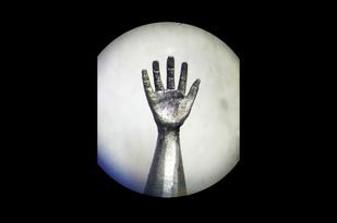 Hand Sculpture Carved on the Tip of Pencil by Eder Art, Art Deco Sculpture | 3D, Wood, Celeste color
