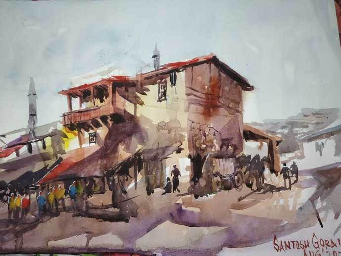 Rural Life by Santosh Gorai, Impressionism Painting, Watercolor on Paper, Gray Nickel color