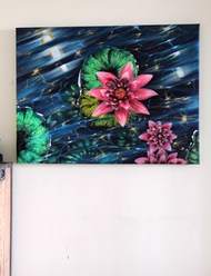 Floating Flowers by Shveta Saxena, Expressionism Painting, Acrylic on Canvas, San Juan color