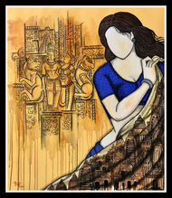 Pratima by Mrinal Dutt, Expressionism Painting, Acrylic on Canvas, Thunder color