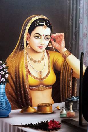 Beautiful Lady by Mohan Mahawar, Decorative Painting, Oil & Acrylic on Canvas, Brandy color