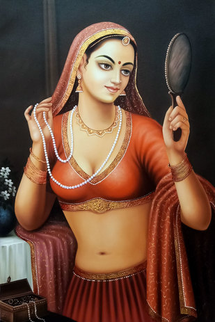 Beautiful Rajasthani Lady by Mohan Mahawar, Expressionism Painting, Oil & Acrylic on Canvas, Cocoa Brown color