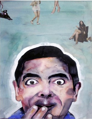 CRAZY KIYA RE by Amit Kumar Pal, Expressionism Painting, Water colour and collage on paper, Cadet Blue color