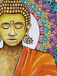 Buddha by Pallavi Rastogi , Expressionism Painting, Ink on Paper, Outer Space color