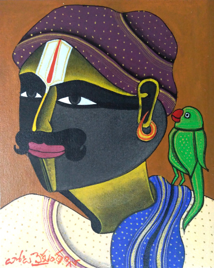 Untitled by Thota Vaikuntam, Expressionism Painting, Acrylic on Canvas, Gravel color