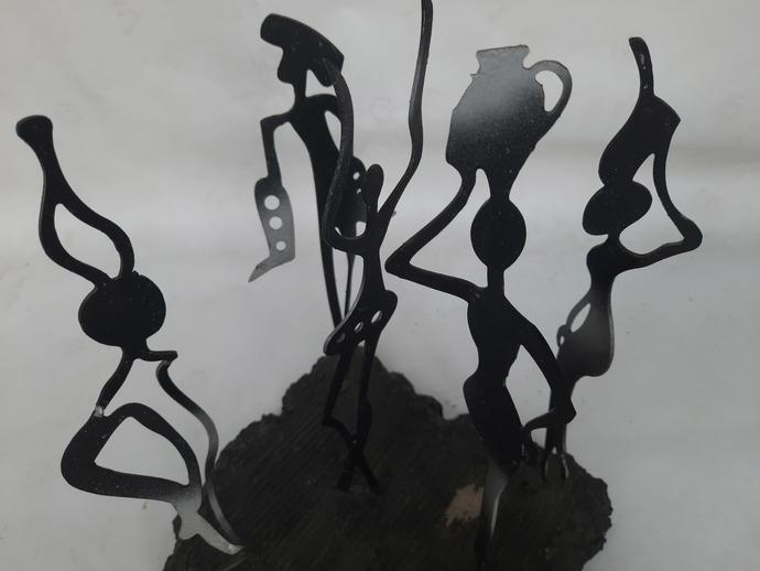 Gossip (ii) by Jignesh Jariwala, Art Deco Sculpture | 3D, Mixed Media, Star Dust color