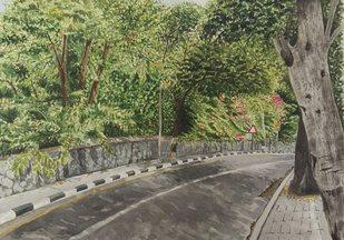 Landscape by Benny K Joseph, Impressionism Painting, Watercolor on Paper, Kokoda color
