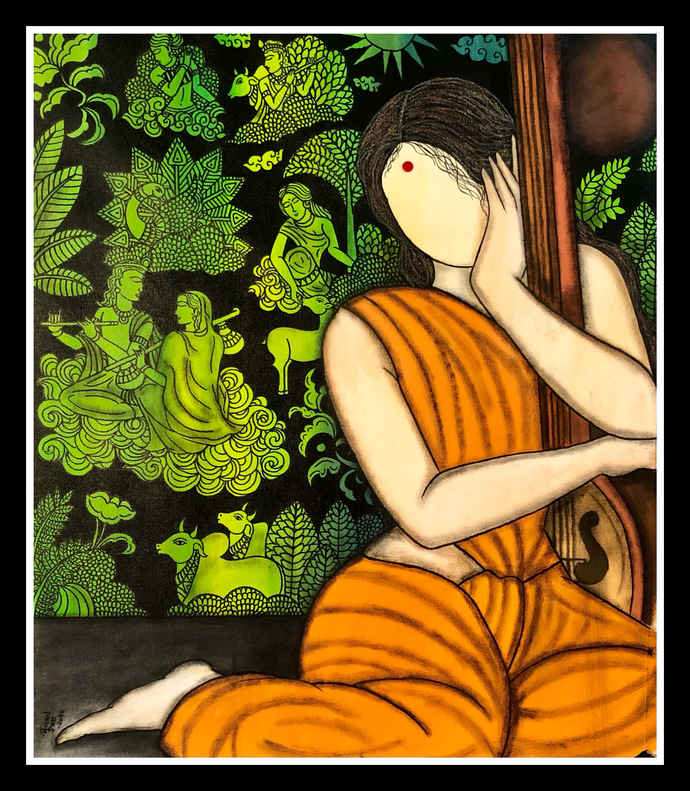 Bhakti by Mrinal Dutt, Expressionism Painting, Acrylic on Canvas, Porsche color