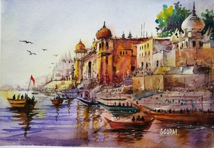 Varanasi temple by Santosh Gorai, Impressionism Painting, Watercolor Wash on Paper, Silver Rust color