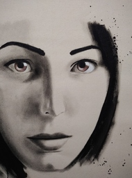 Old Soul Young Eyes by Sangeeta Jaiswal, Expressionism Painting, Acrylic on Canvas, Silver Rust color