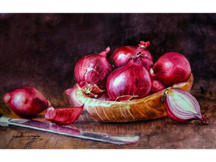ONIONS by Sudheesh N S, Illustration Painting, Watercolor on Paper, Black color