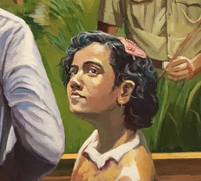 """""""Hei Samalo Dhaan """"-A brief history of Indian Farmers by Rajkumar Sarkar, Realism Painting, Acrylic on Canvas, Olive color"""