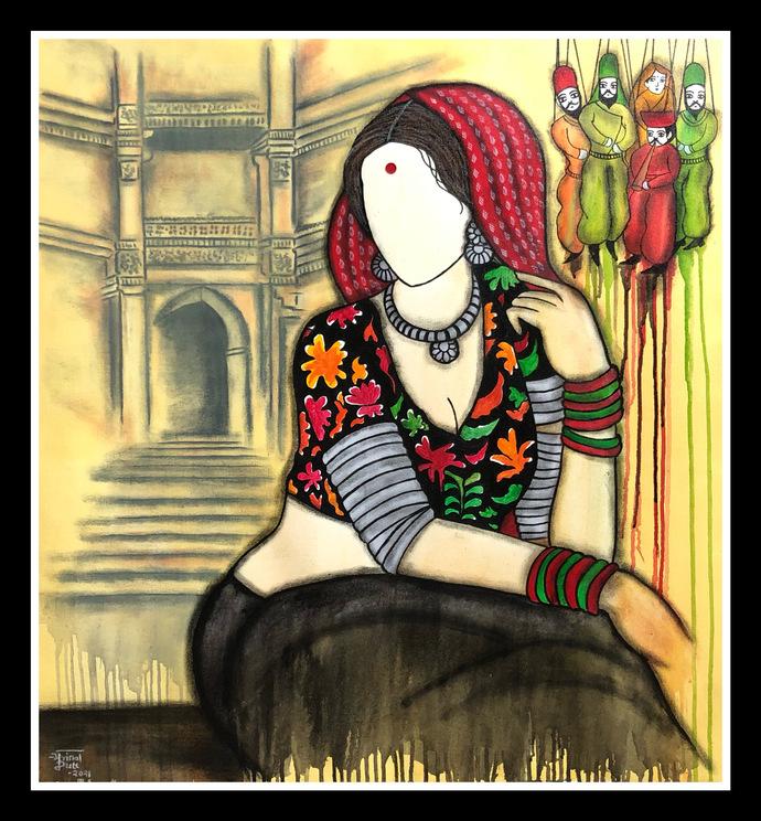 Padmavati by Mrinal Dutt, Illustration Painting, Acrylic on Canvas, Orange color