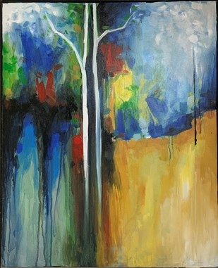 Old Tree by Archana Jain, Expressionism Painting, Acrylic on Canvas, Gray color