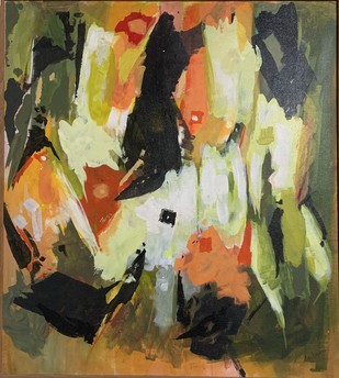 Vivid by Archana Jain, Abstract Painting, Acrylic on Canvas, Olive color