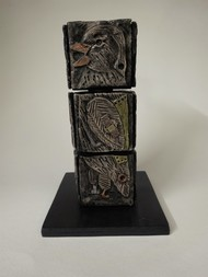 Totem Birds I by Christina Banerjee, Art Deco Sculpture | 3D, Mixed Media, Beige color