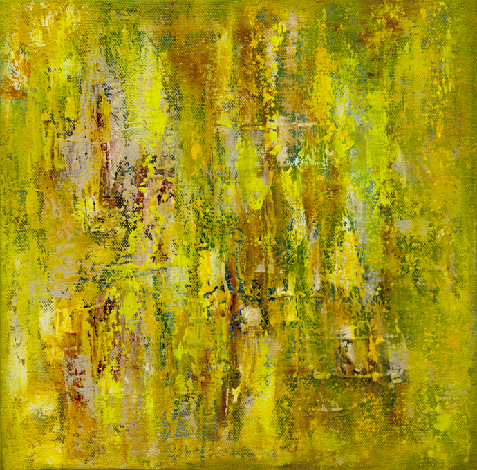 Colour Harmony by Goutam Mukherjee, Abstract Painting, Oil & Acrylic on Canvas, Green color