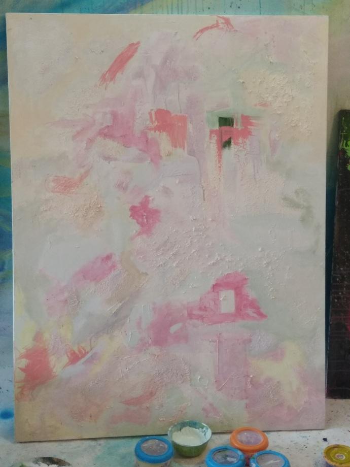 Like Tab Tim Krob by Priyadarshini Ohol, Abstract Painting, Acrylic on Canvas, Gray color