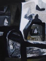 Abstract by Tapas Ghosal, Abstract Painting, Acrylic on Canvas, Gray color