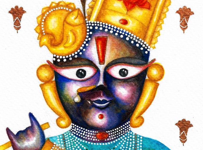 Neel Madhav Digital Print by Priyanka Joshi,Folk