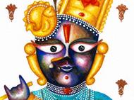 Neel Madhav by Priyanka Joshi, Folk Painting, Watercolor on Paper, Beige color