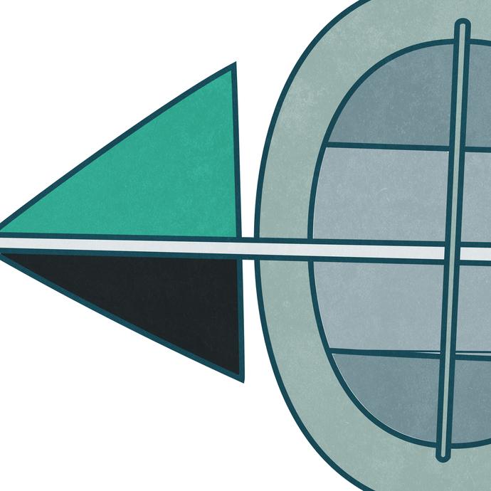 Blue Arrows by KS Guruprasad, Geometrical Digital Art, Digital Print on Archival Paper, White color