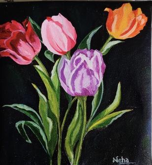 Tulip by Neha gupta, Decorative Painting, Acrylic on Canvas, Viola color