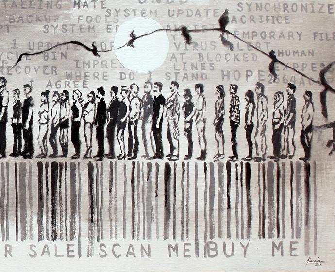 Buffering/Where Do I Stand? Digital Print by Alamelu Annhamalai,Expressionism
