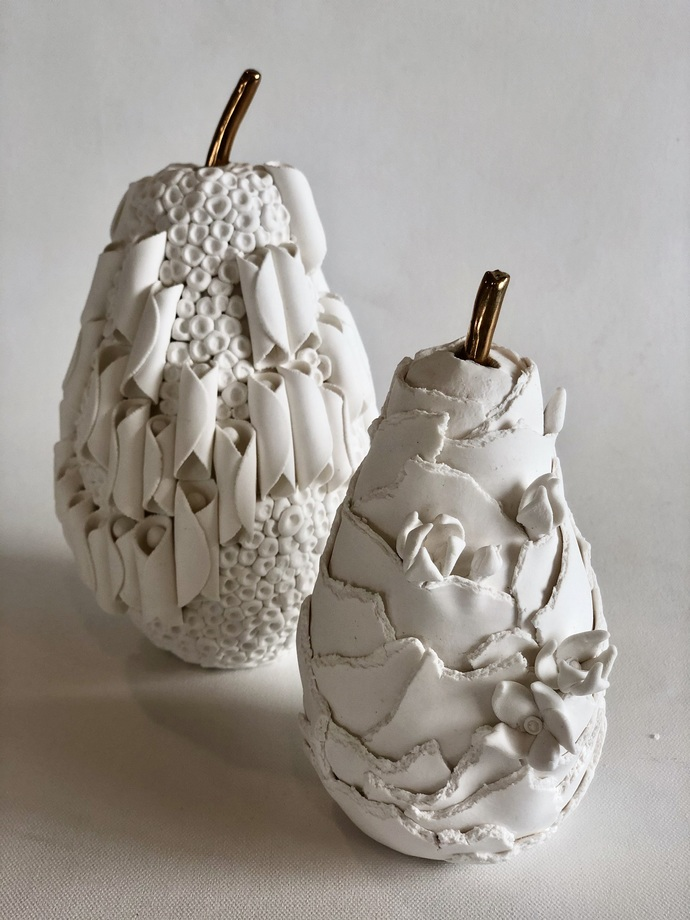 Fruit, the womb of creation -dry floral by Shweta Mansingka, Art Deco Sculpture | 3D, Ceramic, Silver Chalice color