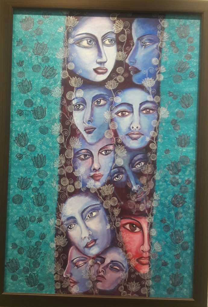 Power and meditation by Soma Anand, Expressionism Painting, Acrylic on Canvas, Antique Brass color