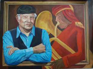 An Ode by Rajkumar Sarkar, Expressionism Painting, Acrylic on Canvas, Spicy Mix color