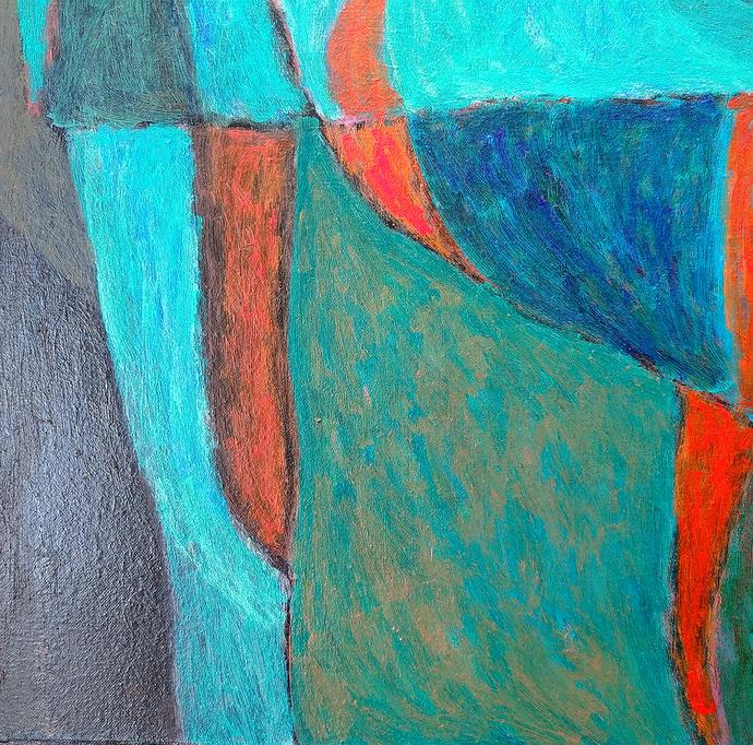UNTITLED by ashwini patil, Abstract Painting, Acrylic on Canvas, Malachite color