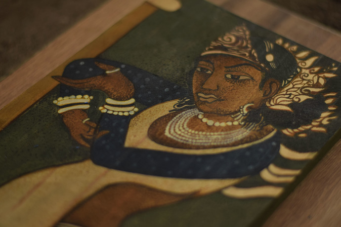 QUEEN AJANTA by Gargi Parmar, Expressionism Painting, Acrylic on Wood, Birch color