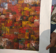 Large City by M Singh, Abstract Painting, Acrylic on Canvas, Roman Coffee color