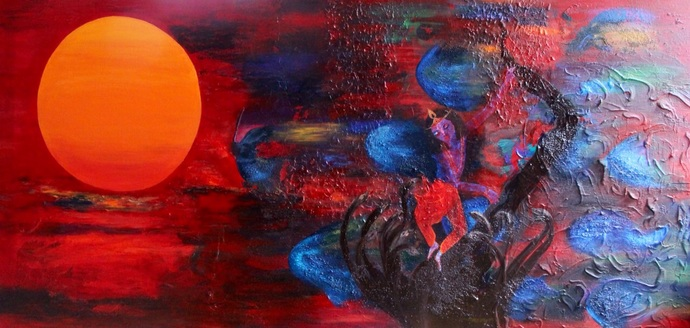 Morning Glory by Rajul Mody , Illustration Painting, Acrylic on Canvas, Maroon color