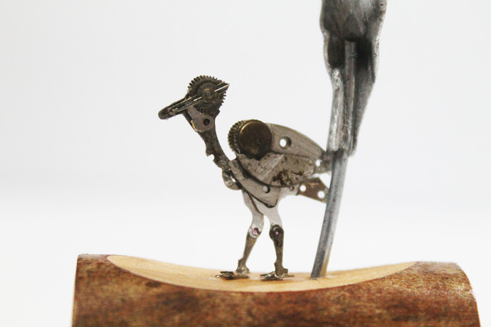 Steampunk Heron by Nikhil Dayanand, Art Deco Sculpture | 3D, Metal, Silver color