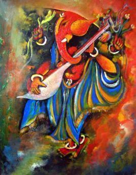 Ganesha by M Singh, , , Brown color