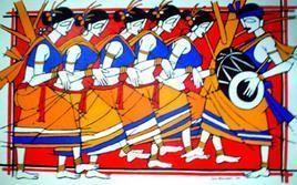 Tribal Dance by Jiaur Rahman, , , Brown color