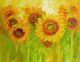 Sunflowers In Bloom by Swati Kale, , , Green color