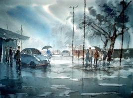 Rainy Day by Jiaur Rahman, , , Green color