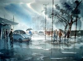 Rainy Day by Jiaur Rahman, , , Green color