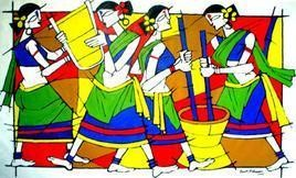 Tribal Women At Work by Jiaur Rahman, , , Beige color