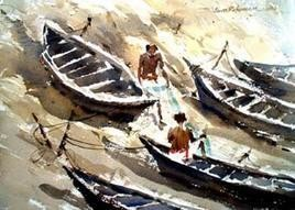 River Side by Jiaur Rahman, , , Beige color