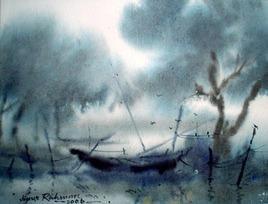 Foggy Morning by Jiaur Rahman, , , Green color
