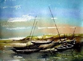 River Side by Jiaur Rahman, , , Cyan color
