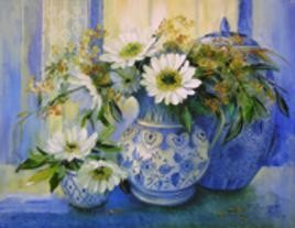Floral Glory - 1 by Swati Kale, , , Blue color
