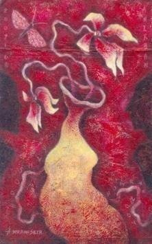 Flower Vase - V by Anirban Seth, , , Purple color